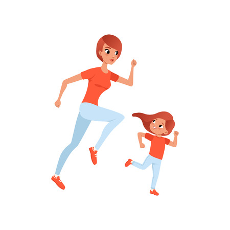 Mother and her little daughter on morning jogging. Physical activity and healthy lifestyle concept. Mom and child in sports pants and t-shirt. Colorful flat vector design isolated on white background.