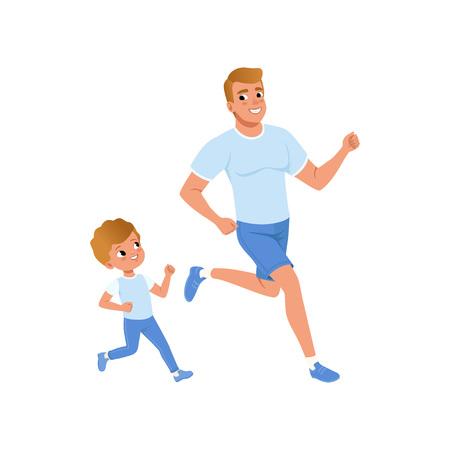 Desenhos animados pai e filho juntos. Corrida matinal. Família esportiva. Conceito de paternidade. Atividade física e estilo de vida saudável. Desenho vetorial plana