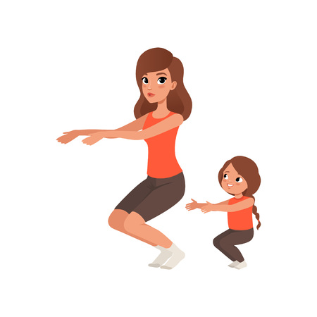 Little girl with her mother doing sit-ups. Morning exercise. Cartoon mom and daughter in sportswear. Sporty family. Physical activity. Motherhood. Flat vector design Illusztráció