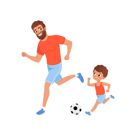 Little boy and his father playing football on playground. Outdoor activity. Fatherhood concept. Sporty family. Son and dad in sportswear. Cartoon flat vector design