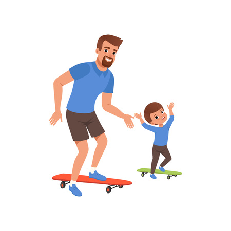 Bearded father and his little son riding on skateboard. Fatherhood concept. Dad and child having fun together. Outdoor activity. Happy family. Flat vector design