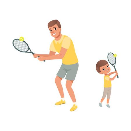 Papà allegro e suo figlio che giocano a tennis. Padre e figlio vestiti con pantaloncini e magliette. Sport attivo. Concetto di paternità. Attività fisica. Illustrazione piana di vettore del fumetto isolata su bianco. Archivio Fotografico - 93531636