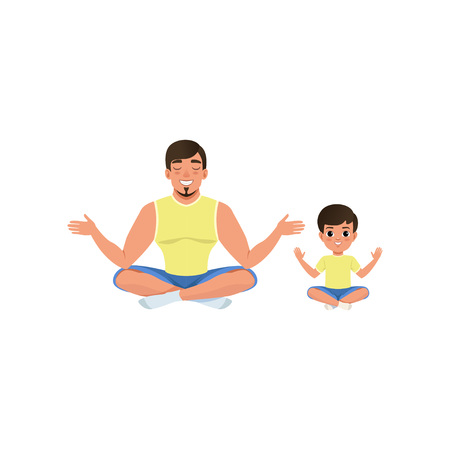 Boy and his dad sitting on floor meditating in yoga lotus pose with legs crossed. Healthy lifestyle. Happy family. Fatherhood concept. Cartoon flat vector design