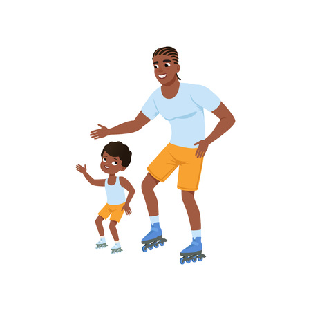 Young afro-american father with son rollerskating. Happy sporty family. Dad and his child having fun together. Outdoor activity. Fatherhood. Flat vector design
