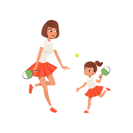 Cheerful mom and her daughter playing ping pong. Outdoor activity. Girl and her mother in sportswear. Sporty family. Motherhood concept. Flat vector design