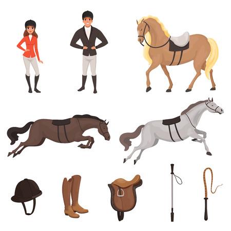 Kreskówka dżokej ikony zestaw z profesjonalnym sprzętem do jazdy konnej. Kobieta i mężczyzna w specjalnym mundurze z hełmem. Koncepcja sportu jeździeckiego. Płaska konstrukcja wektora