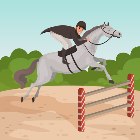 Smiling man jockey on gray horse jumping over hurdle. Male character in equestrian helmet, dark-colored coat and white pants. Nature landscape. Flat vector design