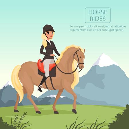 Junges Mädchen Jockey braunes Pferd mit gelbem Gürtel . Frau in Uniform mit Schutzhelm . Schöne Naturlandschaft mit Bergen . Flache Vektor-Design Standard-Bild - 93531260