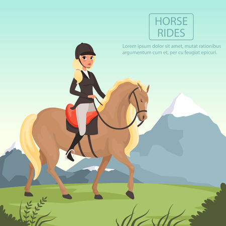 Young girl jockey riding brown horse with yellow crest. Woman in uniform with protective helmet. Beautiful nature landscape with mountains. Flat vector design