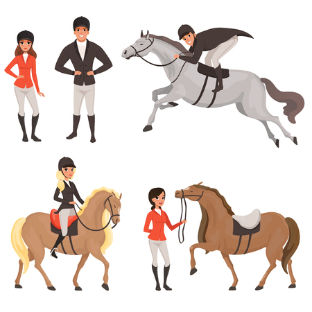 Set of jockeys and horses in different actions. Equestrian sport concept. Cartoon people characters in special uniform with helmet. Colored flat vector design