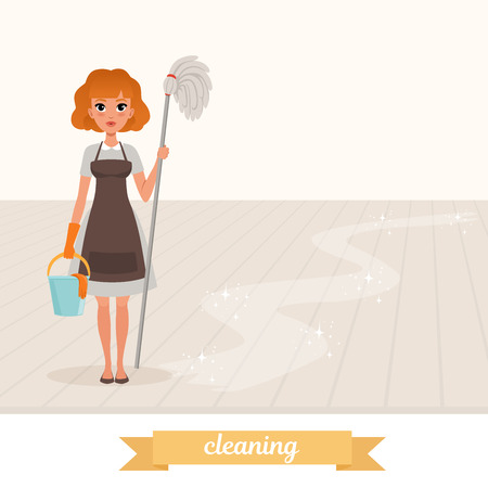 Woman standing on shiny floor and holding mop and plastic bucket. Cartoon maid in dress, apron and protective rubber glove. Housekeeper. Flat vector design Illustration