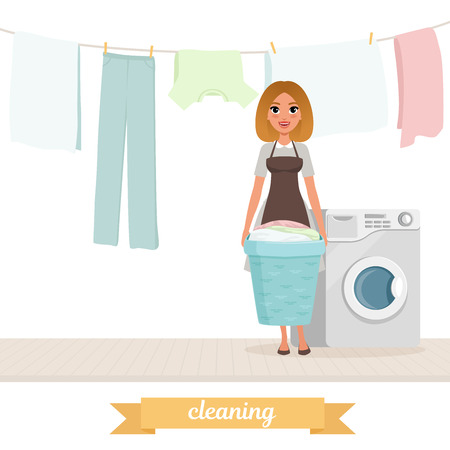 Smiling woman standing near washing machine with laundry basket. Washed clothes drying on rope. Housekeeper. Cartoon girl in dress and apron. Flat vector design