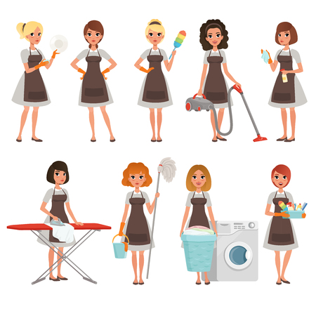 Set of housewives with different equipment. Housekeeper. Cleaning service. Pretty women wearing gray dresses and brown aprons. Cartoon young girls. Flat vector design Illustration