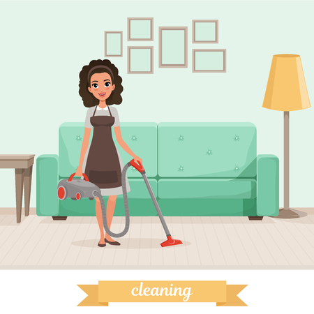Young girl cleaning floor with vacuum cleaner at living room. Sofa, lamp, table and pictures on wall. Maid service. Woman in dress and apron. Flat vector design Illustration