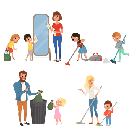 Children helping their parents with housework. Sweeping, vacuuming, washing floor, throwing out garbage, cleaning mirror. Cartoon kids characters. Flat vector design Vettoriali