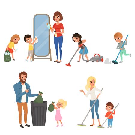 Dzieci pomagają rodzicom w pracach domowych. Zamiatanie, odkurzanie, mycie podłogi, wyrzucanie śmieci, czyszczenie lustra. Postaci z kreskówek dla dzieci. Płaska konstrukcja wektora