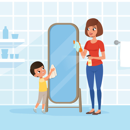Smiling little boy helping his mother at housework. Mom spraying detergent from bottle, son cleaning bathroom mirror with rag. Woman and child. Flat vector design