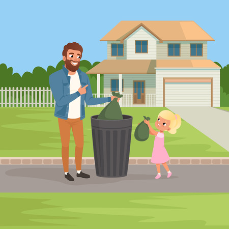 Little girl helping her father throwing out rubbish bags in garbage bin. Housework concept. Big two-storied house and green bushes on background. Flat vector design