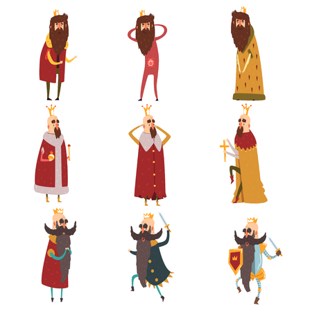 Set of different funny bearded kings in different actions. Old men wearing gold crowns, mantels and armor. Rulers of kingdoms. Cartoon characters. Flat vector design Illustration