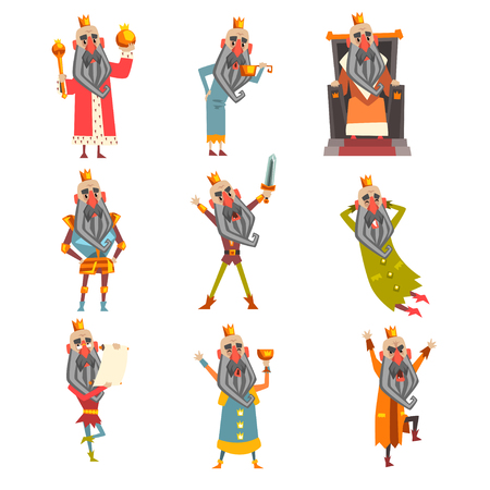 Set of funny king in various clothes. Cartoon character of old bearded man wearing gold crown. Ruler of kingdom. Flat vector design for postcard or children s book