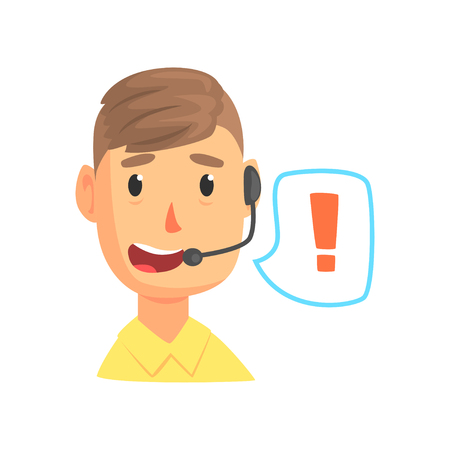 Male call center worker and speech bubble with attention sign, online technical support service assistant with headphones. Cartoon vector Illustration. Isolated on a white background.