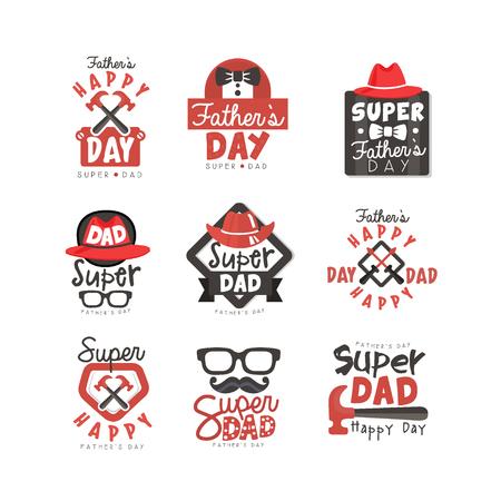 Happy Fathers Day pictogramserie. Super papa vectorillustraties geïsoleerd op een witte achtergrond.