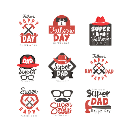 Happy Fathers Day icon set. Super dad vector illustrations isolated on a white background.