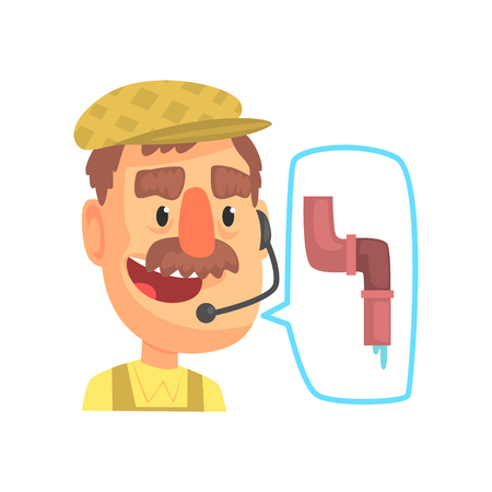 Plumber worker repairman consulting people by phone, online technical support assistant service with headphones cartoon vector Illustration