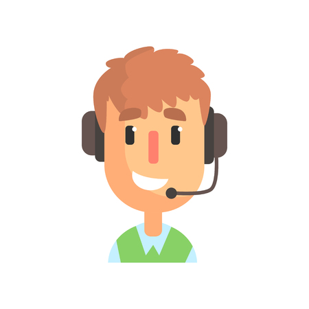 Smiling male call center worker, online customer support service assistant with headphones cartoon vector Illustration isolated on a white background