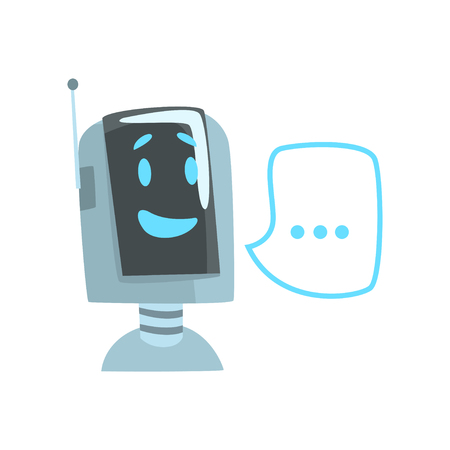 Smiling funny robot and speech bubble, voice support service chat bot, virtual online help customer support cartoon vector Illustration