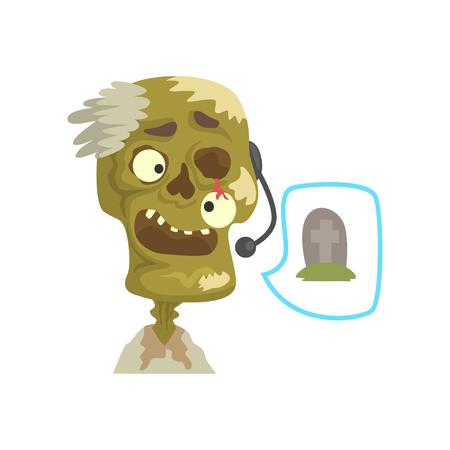 Zombie support phone operator in headset cartoon vector Illustration isolated on a white background