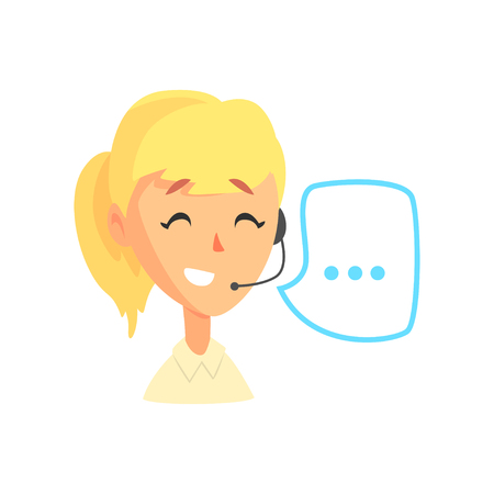 Female call center agent and speech bubble, online customer support service assistant with headphones, cartoon vector Illustration Иллюстрация
