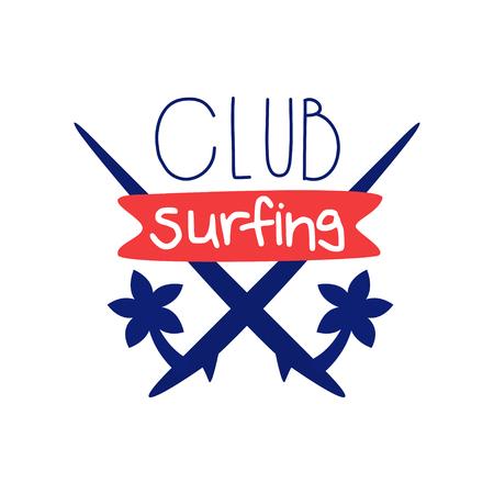 Surfing club symbol template, windsurfing retro badge vector Illustration