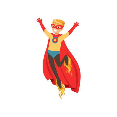 Superhero boy character dressed as a super hero flying with rocket shoes cartoon vector Illustration Иллюстрация