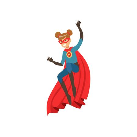 Superheld meisje karakter gekleed in blauw kostuum met rode cape springen cartoon vectorillustratie