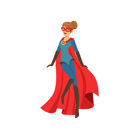 Superhero woman character in blue costume with red cape cartoon vector Illustration
