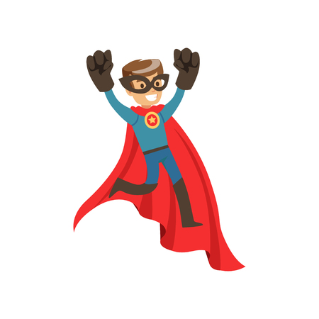 Superhero boy character dressed in blue costume with red cape jumping cartoon vector Illustration Vectores
