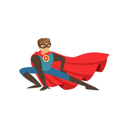 赤いケープランディング漫画ベクトルイラストで青い衣装に身を包んだスーパーヒーロー男キャラクター