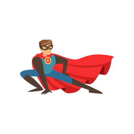 Superhero man character dressed in blue costume with red cape landing cartoon vector Illustration