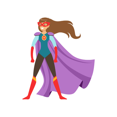 Young woman character dressed as a super hero standing in the traditional heroic pose cartoon vector Illustration