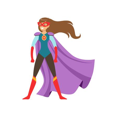 Charakter der jungen Frau gekleidet als Superheld, der in der traditionellen heroischen Haltungskarikatur-Vektor Illustration steht Standard-Bild - 93653348