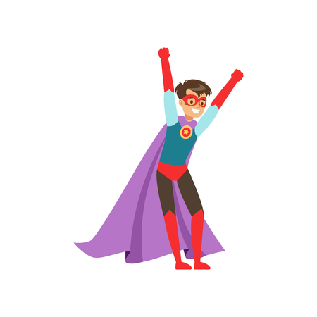 Smiling boy character dressed as a super hero standing with his hands raised cartoon vector Illustration Ilustrace
