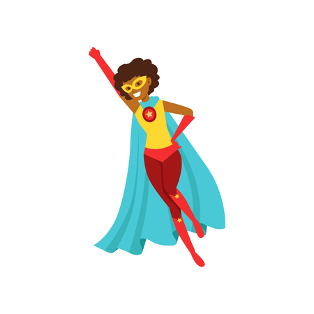 Afro american woman character dressed as a super hero flying in the traditional heroic pose cartoon vector Illustration Illustration