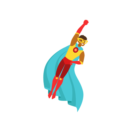 Afro american man character dressed as a super hero flying in the traditional heroic pose cartoon vector Illustration Ilustrace
