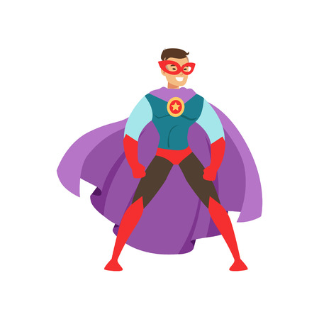 Smiling man character dressed as a super hero standing in the traditional heroic pose cartoon vector Illustration isolated on a white background Ilustração