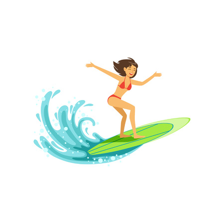 Cheerful female surfer riding a big wave, water extreme sport, summer vacation vector Illustration on a white background Vettoriali