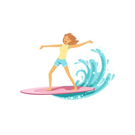 Glückliches Brandungsmädchen mit dem Surfbrett, das eine Welle, extremen Sport des Wassers, Sommerferienvektor Illustration auf einen weißen Hintergrund reitet