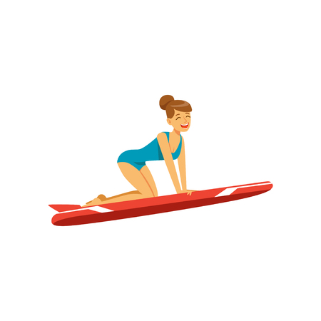 Beautiful girl in blue swimsuit with red surfboard surfing, water extreme sport, summer vacation vector Illustration Illustration