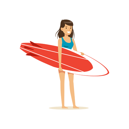 Smiling brunette girl standing on the beach with red surfboard, water extreme sport, summer vacation vector Illustration