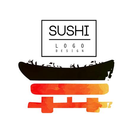 Sushi emblem design vector illustration